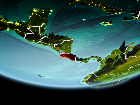 Country of Costa Rica in red on planet Earth in the evening with visible border lines and city lights. 3D illustration. Stock Photo
