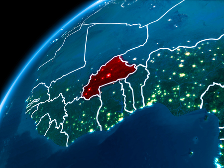 Burkina Faso highlighted in red from Earth's orbit at night with visible country borders. 3D illustration.