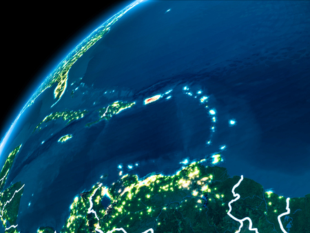 Puerto Rico highlighted in red from Earth's orbit at night with visible country borders. 3D illustration.