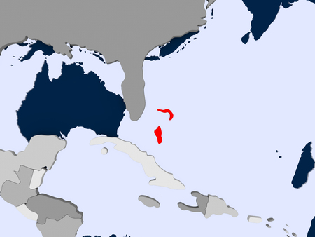 Bahamas in red on political map with transparent oceans. 3D illustration.