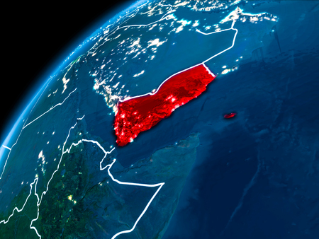 Yemen highlighted in red from Earth's orbit at night with visible country borders. 3D illustration.