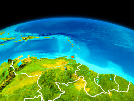 Satellite view of Caribbean highlighted in red on planet Earth with borderlines. 3D illustration.
