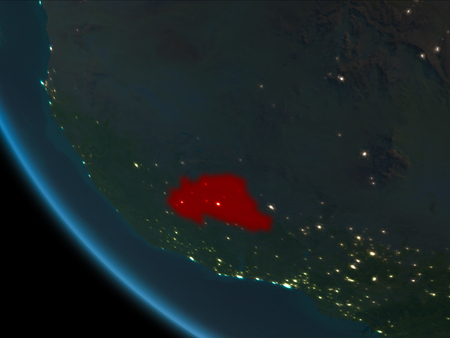 Burkina Faso from orbit of planet Earth at night with highly detailed surface textures. 3D illustration.