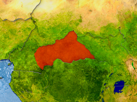 Central Africa in red on realistic map with embossed countries. 3D illustration.