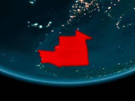 Mauritania at night highlighted in red on planet Earth. 3D illustration. Фото со стока