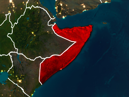 Somalia highlighted in red from Earth's orbit at night with visible country borders. 3D illustration.