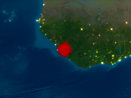 Satellite night view of Sierra Leone highlighted in red on planet Earth. 3D illustration.