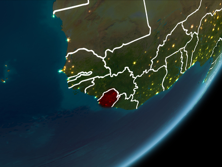 Sierra Leone as seen from Earth's orbit on planet Earth at night highlighted in red with visible borders and city lights. 3D illustration. Stock Photo