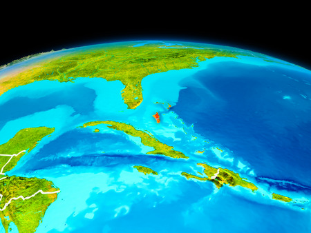 Satellite view of Bahamas highlighted in red on planet Earth with borderlines. 3D illustration.