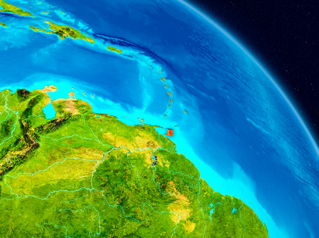 Space view of Caribbean highlighted in red on planet Earth. 3D illustration.