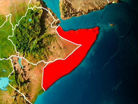 Somalia in the morning highlighted in red on planet Earth with visible border lines and city lights. 3D illustration.