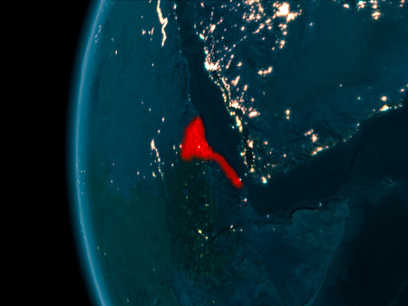 Eritrea from orbit of planet Earth at night with highly detailed surface textures. 3D illustration.