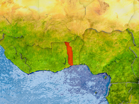 Togo in red on realistic map with embossed countries. 3D illustration.