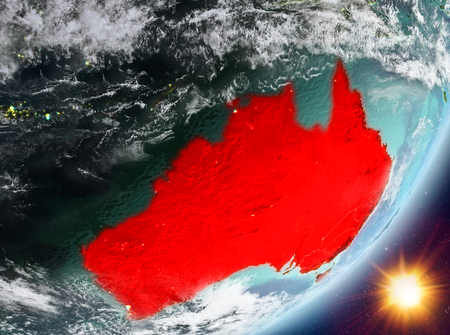 Australia from orbit of planet Earth in sunrise with highly detailed surface textures and clouds. 3D illustration.