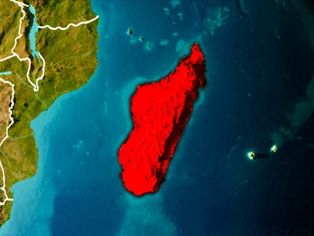 Madagascar in the morning highlighted in red on planet Earth with visible border lines and city lights. 3D illustration. Stock Photo