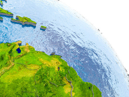 Illustration of Caribbean highlighted in red on glob with realistic surface with visible country borders, and water in the oceans. 3D illustration.