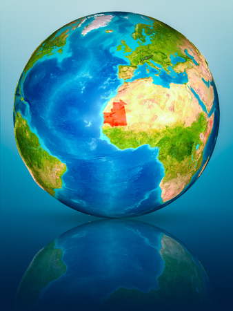 Mauritania in red on model of planet Earth on reflective blue surface. 3D illustration.