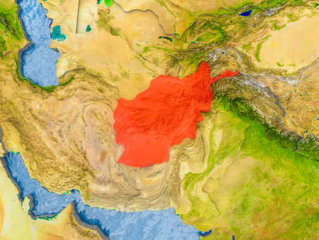 Afghanistan in red on realistic map with embossed countries. 3D illustration. Stock Photo