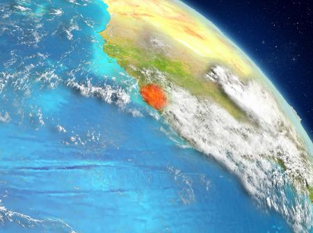 Illustration of Sierra Leone as seen from Earth's orbit. 3D illustration. Stock Photo