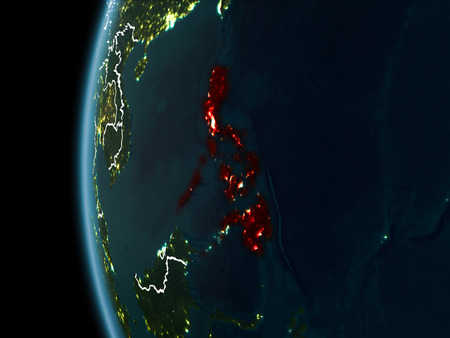 Orbit view of Philippines highlighted in red with visible borderlines and city lights on planet Earth at night. 3D illustration.