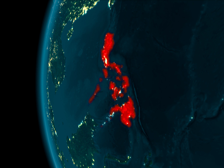 Philippines from orbit of planet Earth at night with highly detailed surface textures. 3D illustration. Stock Photo