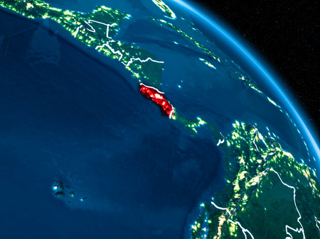 Satellite view of Costa Rica highlighted in red on planet Earth at night with borderlines and city lights. 3D illustration. Stock Photo