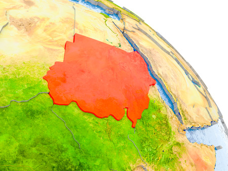 Illustration of Sudan highlighted in red on glob with realistic surface with visible country borders, and water in the oceans. 3D illustration.