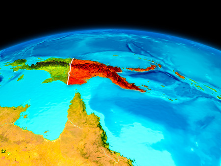 Satellite view of Papua New Guinea highlighted in red on planet Earth with borderlines. 3D illustration. Stock Photo