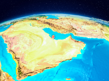 Satellite view of Qatar highlighted in red on planet Earth. 3D illustration.