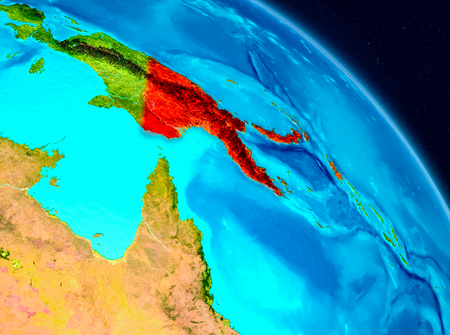 Space view of Papua New Guinea highlighted in red on planet Earth. 3D illustration.