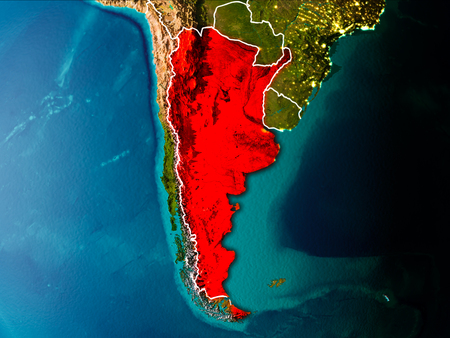 Argentina in the morning highlighted in red on planet Earth with visible border lines and city lights. 3D illustration.