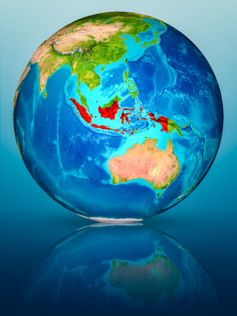 Indonesia in red on model of planet Earth on reflective blue surface. 3D illustration.