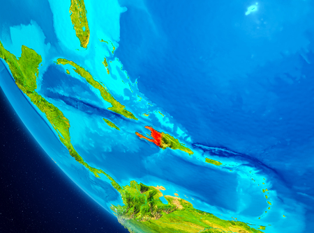 Haiti highlighted in red on planet Earth. 3D illustration.