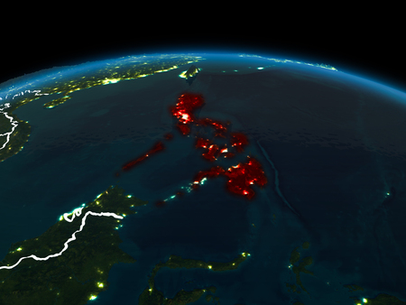 Space orbit view of Philippines highlighted in red on planet Earth at night with visible country borders and city lights. 3D illustration. Stock Photo