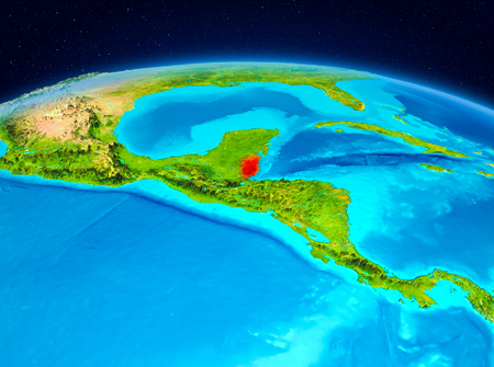 Satellite view of Belize highlighted in red on planet Earth. 3D illustration.