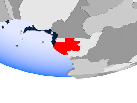 Gabon on 3D model of political globe with transparent oceans. 3D illustration.