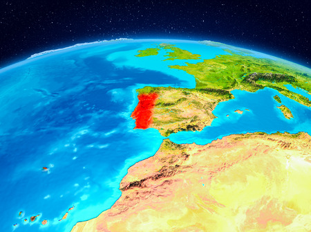 Satellite view of Portugal highlighted in red on planet Earth. 3D illustration.