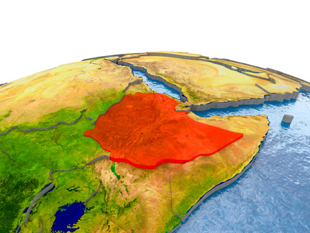 Ethiopia highlighted in red on globe with realistic land surface, visible country borders and water in place of oceans. 3D illustration.