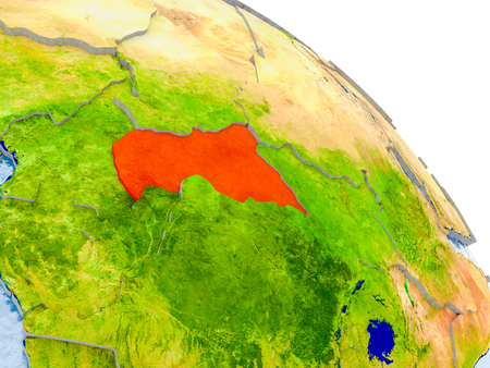 Illustration of Central Africa highlighted in red on glob with realistic surface with visible country borders, and water in the oceans. 3D illustration.