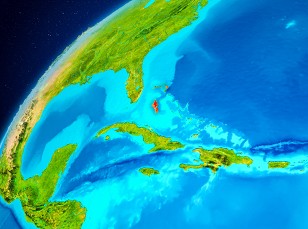 Orbit view of Bahamas highlighted in red on planet Earth. 3D illustration.