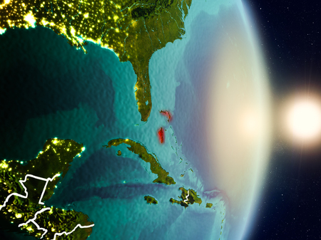 Bahamas during sunrise highlighted in red on planet Earth with visible country borders. 3D illustration.