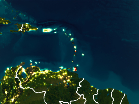 Caribbean highlighted in red from Earth's orbit at night with visible country borders. 3D illustration. Stock Photo