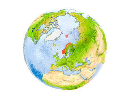 Norway highlighted in red on model of Earth. 3D illustration isolated on white background.