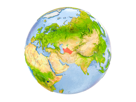 Turkmenistan highlighted in red on model of Earth. 3D illustration isolated on white background. Stock Photo