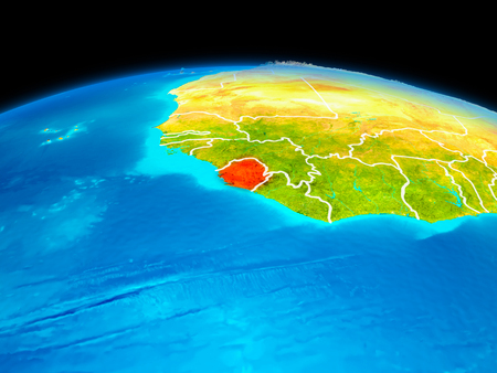 Satellite view of Sierra Leone highlighted in red on planet Earth with borderlines. 3D illustration.