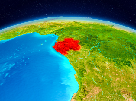Satellite view of Gabon highlighted in red on planet Earth. 3D illustration.