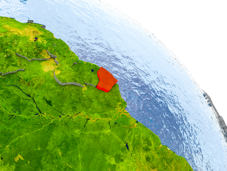 Illustration of French Guiana highlighted in red on glob with realistic surface with visible country borders, and water in the oceans. 3D illustration. Stock Photo