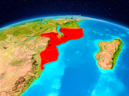 Satellite view of Mozambique highlighted in red on planet Earth. 3D illustration.