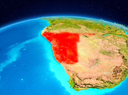 Satellite view of Namibia highlighted in red on planet Earth. 3D illustration. Фото со стока