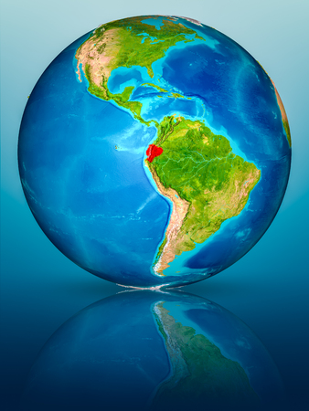 Ecuador in red on model of planet Earth on reflective blue surface. 3D illustration.